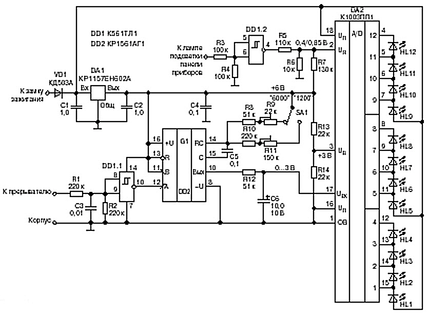 Рис. 1 Схема тахометра