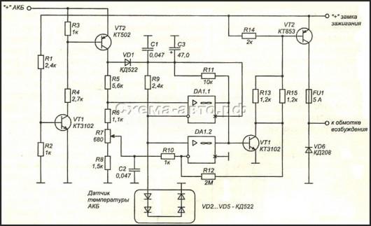 Термокомпенсированный регулятор напряжения, схема для авто