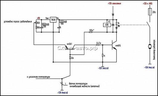 Схема регулирования включения вентиляторов охлаждения