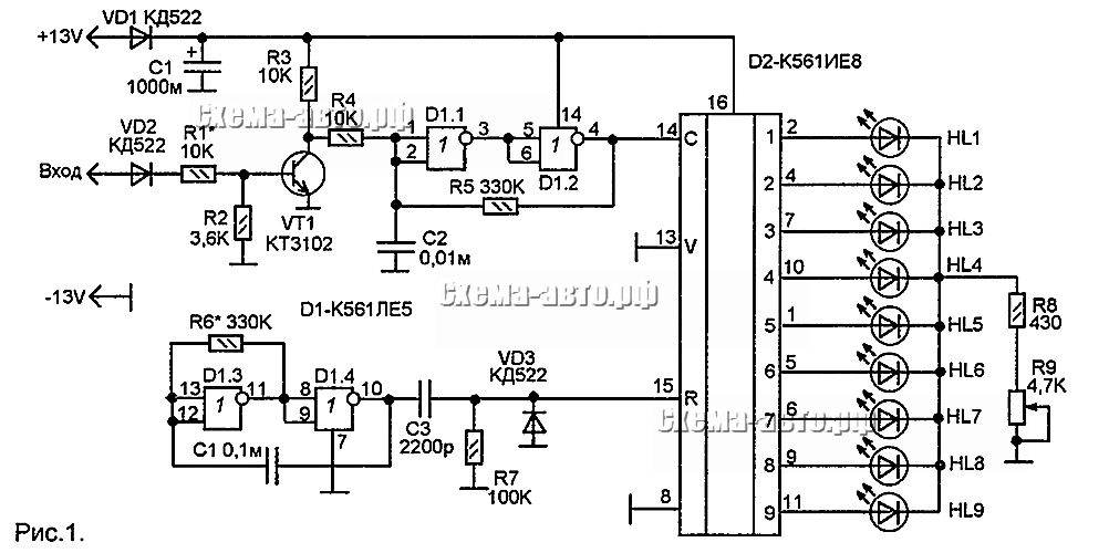 Индикатор - тахометр схема