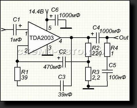 Простой усилитель на микросхеме TDA2003