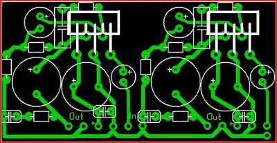 печатка Простой усилитель на микросхеме TDA2003