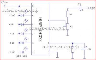 Индикатор аудио сигнала на Ka2284 схема