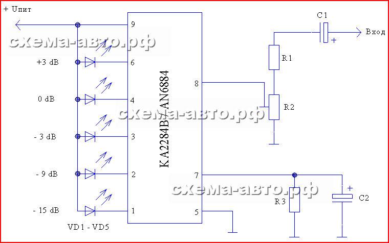 Индикатор аудио сигнала на ka2284   схема-авто — поделки для авто.