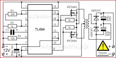 Простой инвертор 12-220 Вольт на 100 ватт схема