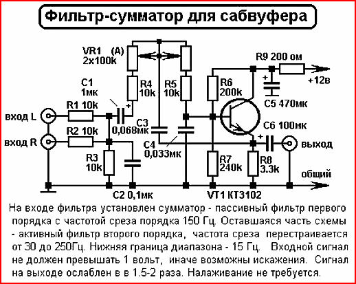 ФНЧ для сабвуфера | Схема-авто