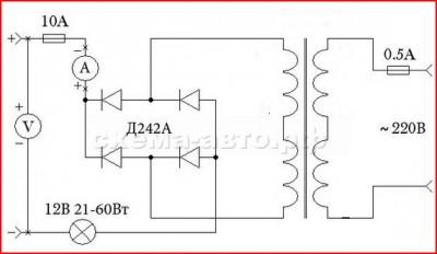 Зарядное устройство для аккумулятора схема