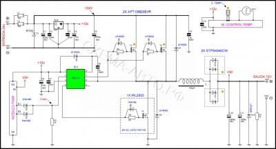 Преобразователь постоянного тока 24/12В 400Вт схема