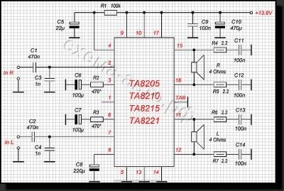 Усилитель на базе микросхемы TA8205, TA8210, TA8215, TA8221 схема