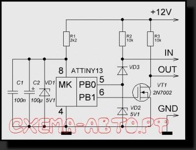 Делитель импульсов на микроконтроллере схема