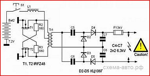 схема электрошокера из бп компьютера