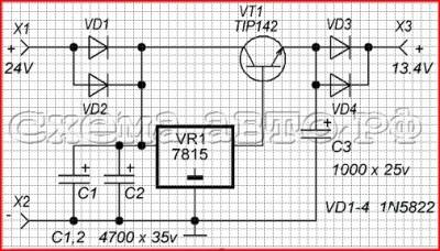 Преобразователь напряжения с 24 на 12 вольт схема, фото