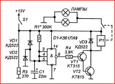 Схема задержки вкл/выкл стоп-сигналов
