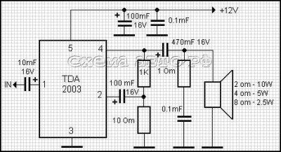 Усилитель мощности на микросхеме ТDА2003