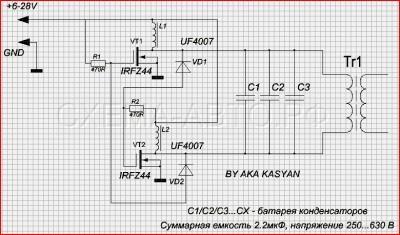 Преобразователь 12-220 Вольт (DC-DC) схема, фото