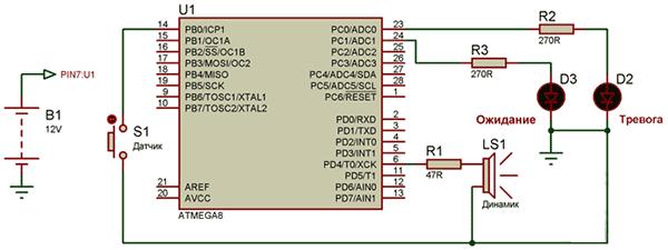 Автосигнализация на микроконтроллере своими руками