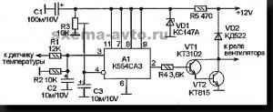 Электронный датчик вентилятора обдува радиатора