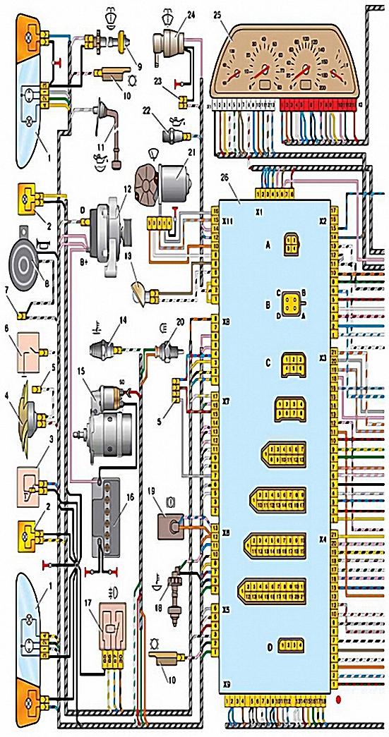 Схема электрооборудования автомобилей ВАЗ-2115-20 и 2115-01