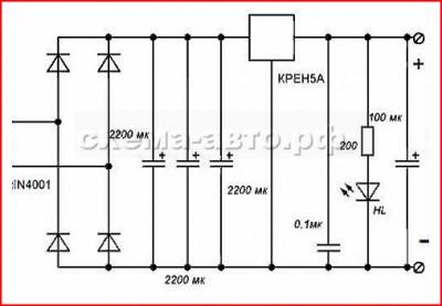 для зарядки аккумуляторов или мобильного телефона схема