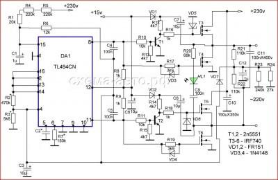 Инвертор автомобильный или DC-AC конвертор схема фото