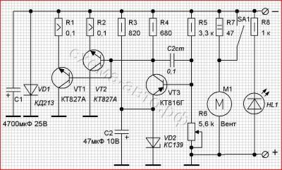 Схема тестовой нагрузки для проверки автомобильных зарядных устройств